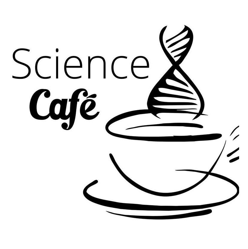 Science café logo containing tea cup with double helix steam
